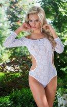 Боди с длинными рукавами и открытой спиной, цвет белый, S-M - SoftLine Collection (SLC)