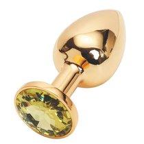 Анальная пробка Metal Gold 2,8 с кристаллом, цвет желтый - Luxurious Tail