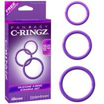 Набор из 3-х эрекционных колец Silicone 3-Ring Stamina Set, цвет фиолетовый - Pipedream