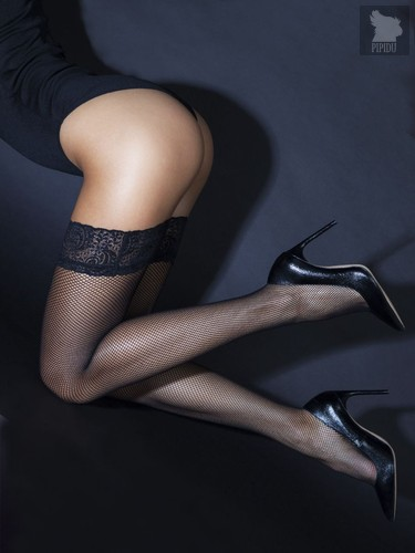 Чулки в мелкую сетку с кружевной резинкой, цвет черный, S-M - Le Frivole