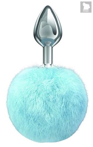 Серебристая анальная пробка с голубым пушистым хвостиком Twinkle, цвет голубой - Lola Toys