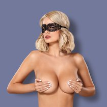 Чёрная ажурная маска на глаза на завязках - Obsessive