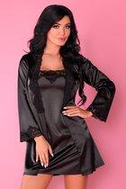 Роскошный ночной комплект Jacqueline: пеньюар, сорочка и трусики-стринги, цвет черный, размер S-M - Livia Corsetti