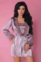 Роскошный ночной комплект Jacqueline: пеньюар, сорочка и трусики-стринги, цвет сиреневый, L-XL - Livia Corsetti