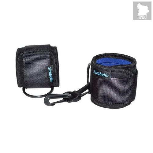 Чёрно-синие неопреновые наручники на липучках, цвет синий/черный - Sitabella (СК-Визит)