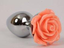 Металлическая анальная пробка с оранжевой розой - 10 см., цвет оранжевый - 4sexdreaM