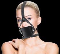 Чёрный кожаный кляп Leather Mouth Gag, цвет черный - Shots Media