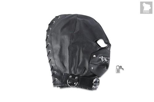 Маска на голову с молнией, цвет черный - Пикантные штучки