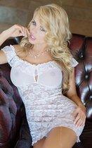 Сорочка с цветочным узором и воланом, цвет белый, S-M - SoftLine Collection (SLC)