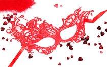 Красная ажурная текстильная маска Марго, цвет красный - Bioritm