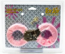 Розовые меховые наручники с ключами - Toy Joy