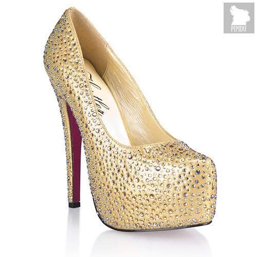 Туфли Golden Diamond, с кристаллами, цвет золотой, 36 - Hustler Shoes