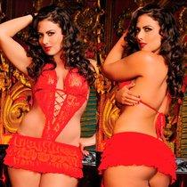 Платье-фартучек Aisha, цвет красный, XL-3XL - Seven`til Midnight