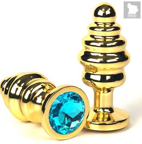 Золотистая ребристая анальная пробка с голубым кристаллом - 6 см., цвет голубой - Vandersex