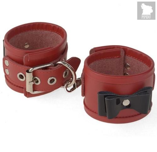 Красные наручники с черными лаковыми бантами, цвет красный/черный - Sitabella