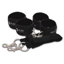 Две пары черных наручников, крепящиеся к матрасу, цвет черный - Lux Fetish