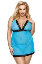 Полупрозрачная сорочка Liessa, цвет голубой/черный, размер 5XL-6XL - Anais