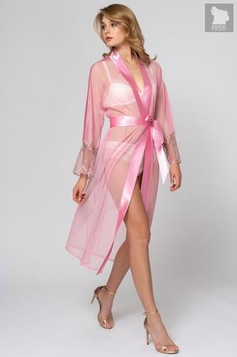 Соблазнительный пеньюар с атласной отделкой и вышивкой, цвет розовый - Laete