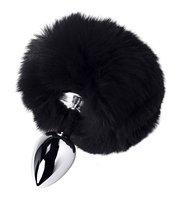 Серебристая анальная втулка TOYFA Metal с черным хвостиком, цвет черный - Toyfa