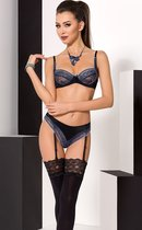 Сексуальный комплект белья с изысканным кружевом Gisele, цвет синий/черный, 2XL-3XL - Passion