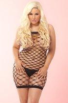Сетчатое платье TEASER DIAMOND NET MINI DRESS, цвет черный, XL-2XL - Pink lipstick