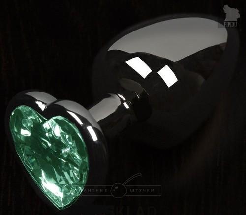 Графитовая анальная пробка с зеленым кристаллом в виде сердечка - 6 см., цвет зеленый - Пикантные штучки