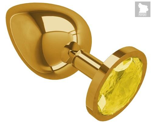 Золотистая большая анальная пробка с желтым кристаллом - 9,5 см, цвет желтый/золотой - МиФ
