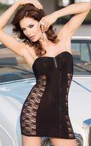 Платье без бретель со стразами на бюсте и кружевными боками, цвет черный, S - SoftLine Collection (SLC)