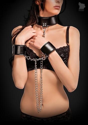 Ошейник с наручниками OUCH! Black SH-OU187BLK, цвет черный - HOT