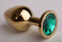 Анальная пробка золотая с зеленым кристаллом 9,5х4см 47098-2-MM - Eroticon