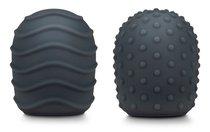 Набор из 2 силиконовых текстурированных насадок для вибратора Le Wand, цвет темно-серый - Le Wand