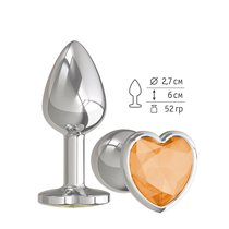 Серебристая анальная пробка с оранжевым кристаллом-сердцем - 7 см