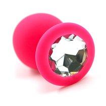 Розовая силиконовая анальная пробка с прозрачным кристаллом - 8,3 см, цвет розовый/прозрачный - Kanikule