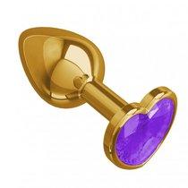 Золотистая анальная пробка с кристаллом-сердцем - 7 см, цвет золотой/фиолетовый - МиФ