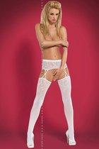 Чулки S 206 Garter Stockings, цвет белый, S-L - Obsessive