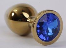 Анальная пробка золото с синим стразом 9,5х4см 47004-2-MM - Eroticon