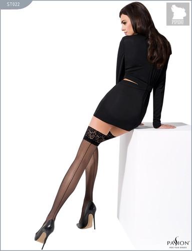 Чулки с широкой кружевной резинкой и швом сзади, цвет черный, размер L-XL - Passion