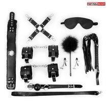 Большой набор БДСМ в черном цвете: маска, кляп, зажимы, плётка, ошейник, наручники, оковы, щекоталка, фиксатор, цвет черный - Bioritm