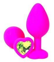 Розовая силиконовая пробка с лаймовым кристаллом-сердечком - 8,5 см., цвет лайм - Vandersex