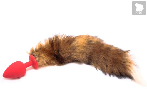Анальная пробка с рыжим хвостом размера M - 8 см, цвет красный - Vandersex