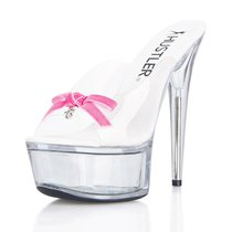 Сабо Pink Bow, с розовым бантиком, цвет белый/прозрачный - Hustler Shoes