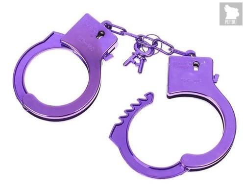 """Фиолетовые пластиковые наручники """"Блеск"""", цвет фиолетовый - Сима-Ленд"""