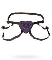 Трусики с фиолетовым сердечком для страпона, цвет фиолетовый - Lux Fetish