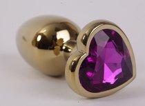 Анальная пробка золото 8х3,5см с сердечком фиолетовый страз размер-L 47192-1-MM - Eroticon