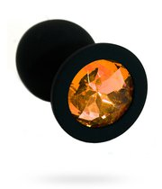 Анальная пробка со стразом Silicone Black - Medium, цвет светло-желтый - Kanikule