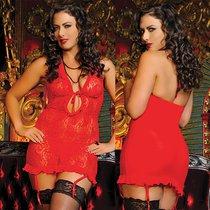 Сорочка Jamie с завязками на груди, с трусиками, цвет красный, XL-3XL - Seven`til Midnight