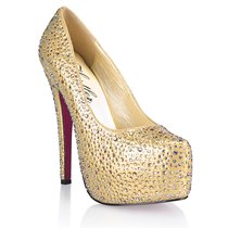 Туфли Golden Diamond, с кристаллами, цвет золотой, размер 40 - Hustler Shoes