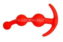 Оранжевая анальная цепочка из 3 звеньев - 13 см., цвет оранжевый - Главсексмаг