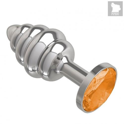 Анальная пробка МиФ Джага Джага Silver Spiral 515-10 с оранжевым кристаллом - 7 см, цвет оранжевый - МиФ