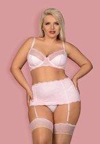 Восхитительный комплект нижнего белья Girlly с поясом для чулок, цвет белый/розовый, 2XL - Obsessive